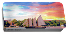 Sails In The Wind At Sunset On The York River Portable Battery Charger