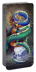 Portable Battery Charger featuring the digital art Sake Dragon by Stanley Morrison