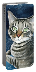 Sammy Tabby Cat Portrait Portable Battery Charger