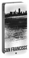 San Francisco Skyline Brush Stroke Black Portable Battery Charger