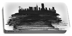 San Francisco Skyline Brush Stroke White Portable Battery Charger