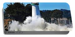 Santa Cruz Lighthouse And Crashing Waves Portable Battery Charger