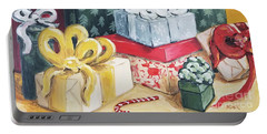 Portable Battery Charger featuring the painting Santa Was Here by Maria Langgle