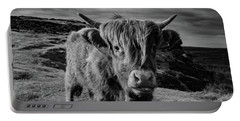 Saying Hello To A Highland Cow At Baslow Edge Black And White Portable Battery Charger