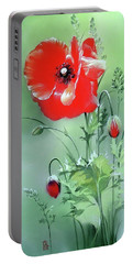 Scarlet Poppy Flower Portable Battery Charger