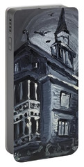 Portable Battery Charger featuring the painting Scary Old House by Maria Langgle