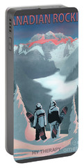 Portable Battery Charger featuring the painting Scenic Vista Snowboarders by Sassan Filsoof