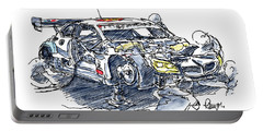 Schnitzer Bmw M6 Gt3 Racecar Ink Drawing And Watercolor Portable Battery Charger