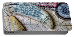 Scrimshaw On Old Map Portable Battery Charger