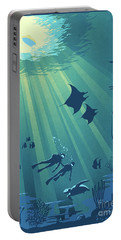 Portable Battery Charger featuring the painting Scuba Dive by Sassan Filsoof