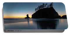 Portable Battery Charger featuring the photograph Sea Stack Silhouette by Ed Clark