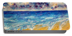 Portable Battery Charger featuring the painting Searching For Rainbows by Tracy Bonin
