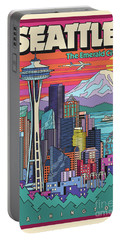 Seattle Poster - Pop Art Skyline Portable Battery Charger