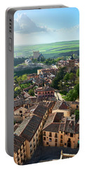 Segovia City And Alcazar From The Cathedral - Spain Portable Battery Charger