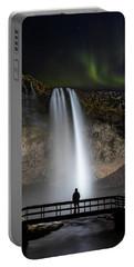 Seljalandsfoss Northern Lights Silhouette Portable Battery Charger