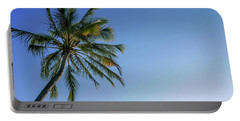 Shades Of Blue And A Palm Tree Portable Battery Charger