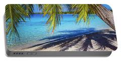 Shadows On The Beach, Takapoto, Tuamotu, French Polynesia Portable Battery Charger