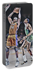 Shaquille O Neal Vs Bill Russell Abstract Art 1 Portable Battery Charger