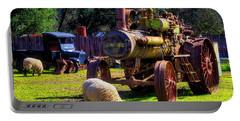 Sheep And Old  Steam Tractor Portable Battery Charger