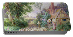 Shepherd And His Flock Passing A Country Cottage Portable Battery Charger