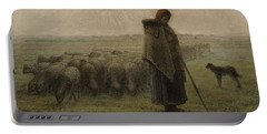 Shepherdess And Her Flock By Millet Portable Battery Charger