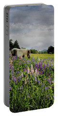 Shetland In A Lupine Field Portable Battery Charger