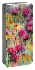 Shiny Rudbeckia And Thistle Portable Battery Charger