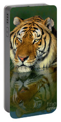 Portable Battery Charger featuring the photograph Siberian Tiger Reflection Wildlife Rescue by Dave Welling
