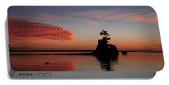 Portable Battery Charger featuring the photograph Siletz Bay Sunset With Gull by Mary Jo Allen