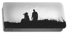 Silhouette Of Couple In Love With Wedding Couple On Top Of A Hil Portable Battery Charger