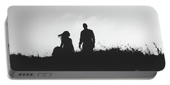 Silhouette Of Couple In Love With Wedding Couple On Top Of A Hill Portable Battery Charger