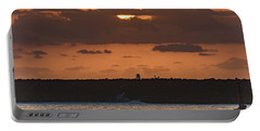 Silhouettes, Breakwall And Sunrise Seascape Portable Battery Charger