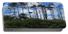 Silhouettes Of Wind Sculpted Krumholz Trees  Portable Battery Charger