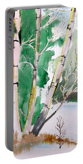 Silver Birch In Snow Portable Battery Charger