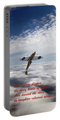 Portable Battery Charger featuring the photograph Silver Spitfire - Slipping The Surly Bonds ... by Gary Eason