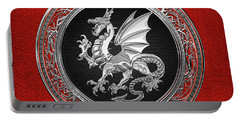 Silver Winged Norse Dragon - Icelandic Viking Landvaettir On Black And Silver Medallion Over Red  Portable Battery Charger