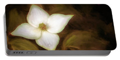 Single Dogwood Flower Sepia Portable Battery Charger