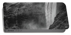 Skogafoss Iceland Black And White Portable Battery Charger