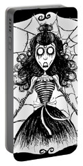 Skull Girl Stuck On Spider Web Portable Battery Charger