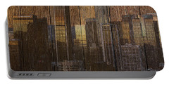 Skyline Of Los Angeles, Usa On Wood Portable Battery Charger
