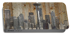 Skyline Of Seattle, Usa On Wood Portable Battery Charger