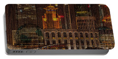 Skyline Of Shanghai, China On Wood Portable Battery Charger