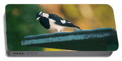 Small Magpie Lark Outside In The Afternoon Portable Battery Charger