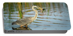 Portable Battery Charger featuring the photograph Snack Time For Blue Heron by Donald Brown