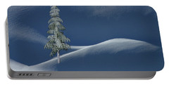 Snow Covered Tree And Mountains Color Portable Battery Charger