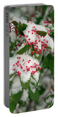 Snow Covered Winter Berries Portable Battery Charger