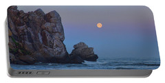 Snow Moon And Morro Rock Portable Battery Charger