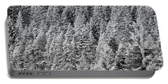 Portable Battery Charger featuring the photograph Snow On Evergreens by Tom Gresham