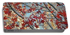 Snow On Maple Leaves Portable Battery Charger