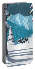 Portable Battery Charger featuring the digital art Snowmobile Landscape by Sassan Filsoof